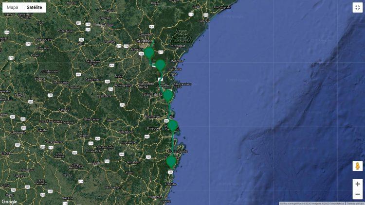 Concessionária tem 5 praças de cobrança (mapa Google Arteris